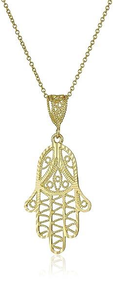 Amazon 14k yellow gold diamond cut hamsa pendant necklace 18 14k yellow gold diamond cut hamsa pendant necklace 18quot mozeypictures Gallery
