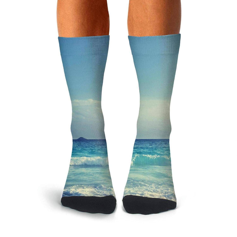 KCOSSH Ocean Waves Beach Novelty Crew Sock Print Calf Socks for Men