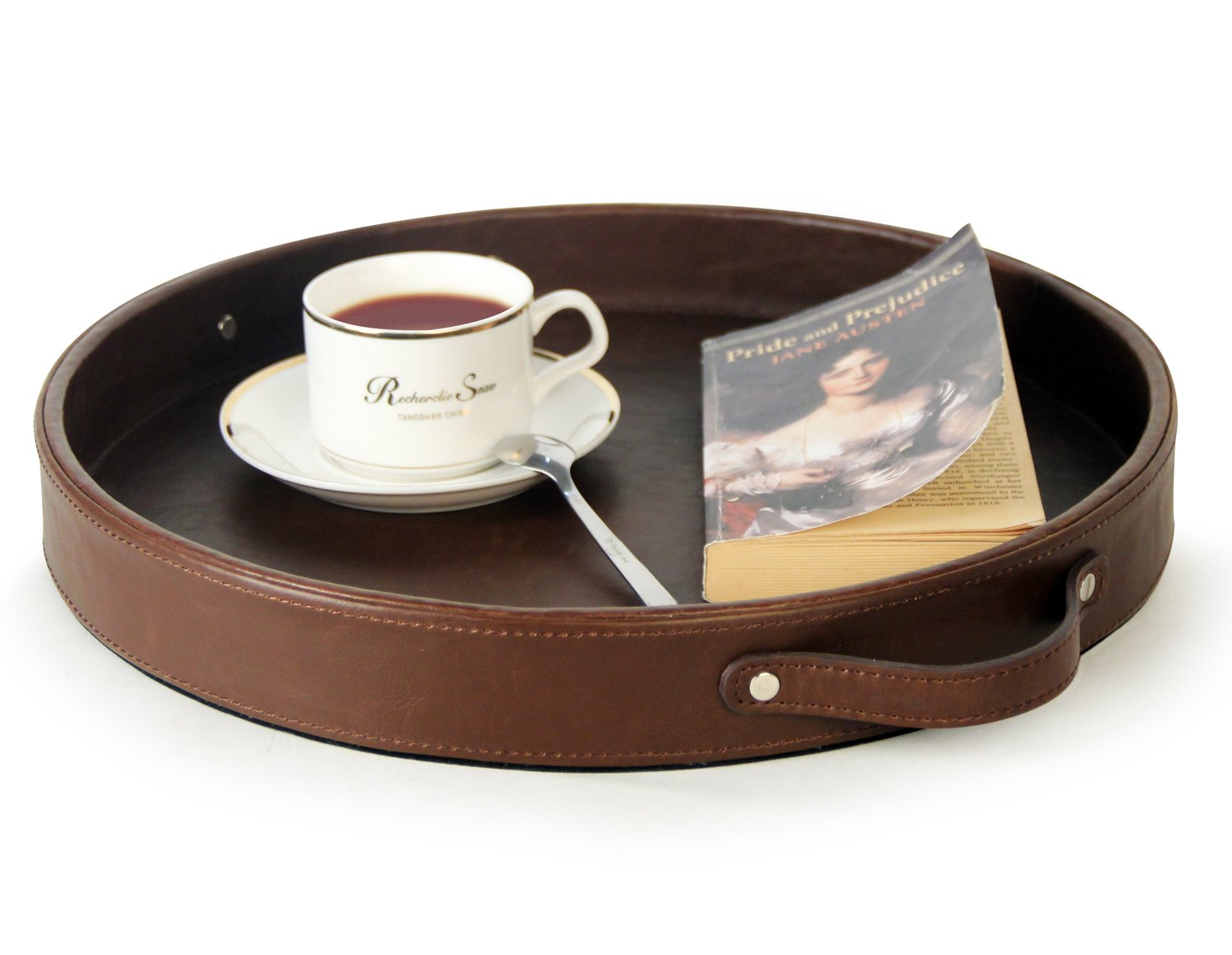 Ms.Box PU Leather Round Serving Tray with Handles, Brown