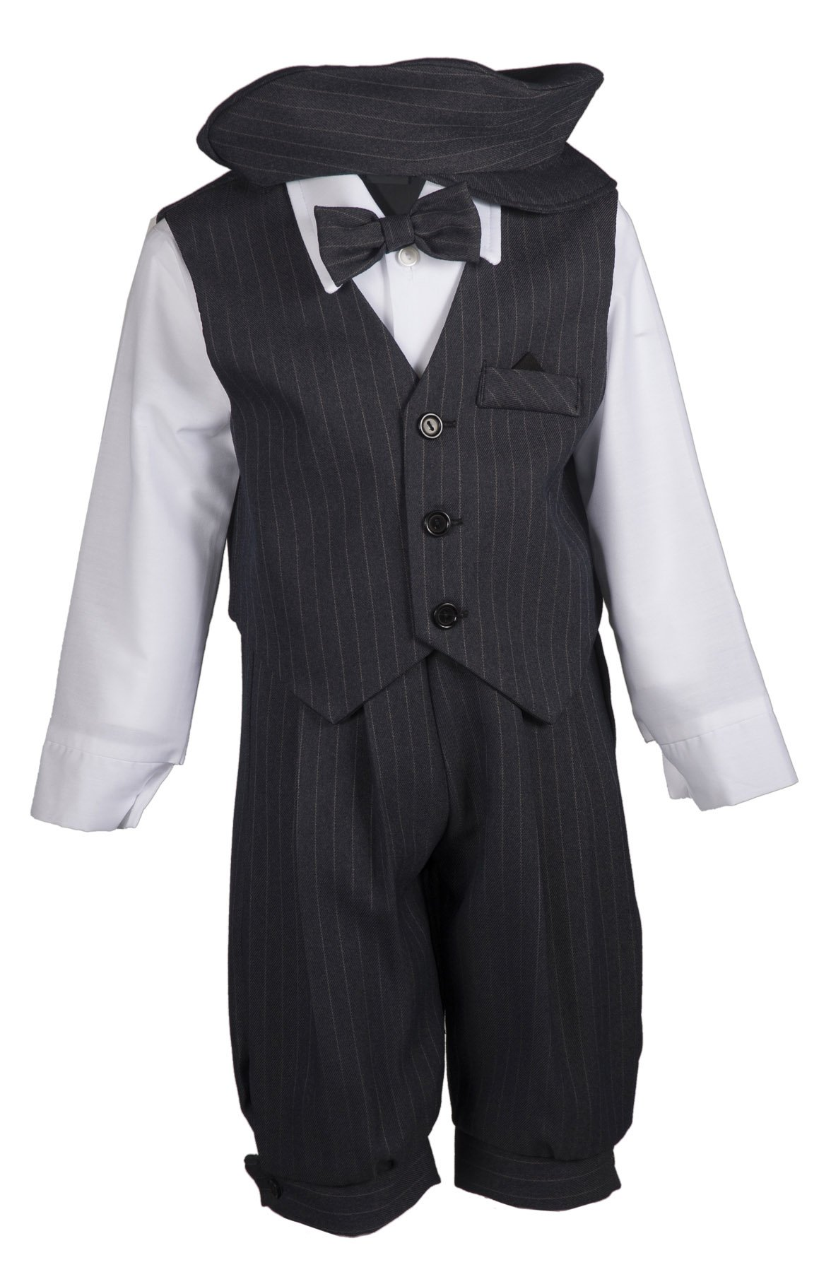 Tuxgear Boys Grey Pinstripe Knicker Set with Vest and Pageboy Hat, 7 Boys by Tuxgear