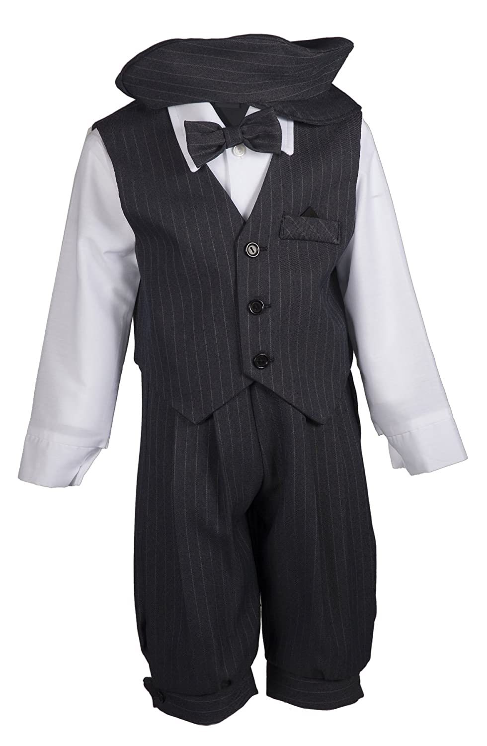 1930s Childrens Fashion: Girls, Boys, Toddler, Baby Costumes Boys Grey Pinstripe Knicker Set with Vest in Baby Toddler & Boys Sizes $37.95 AT vintagedancer.com