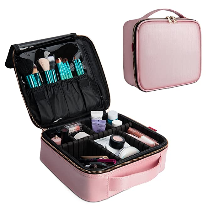 Nice Ebag Cosmetic Makeup Train Case With Brush Holder,Portable Cosmetic Makeup Organizer For Travel,Waterproof Cosmetic Makeup Bag For Women,Toiletry Case With Adjustable Dividers, Rose Gold by Amazon