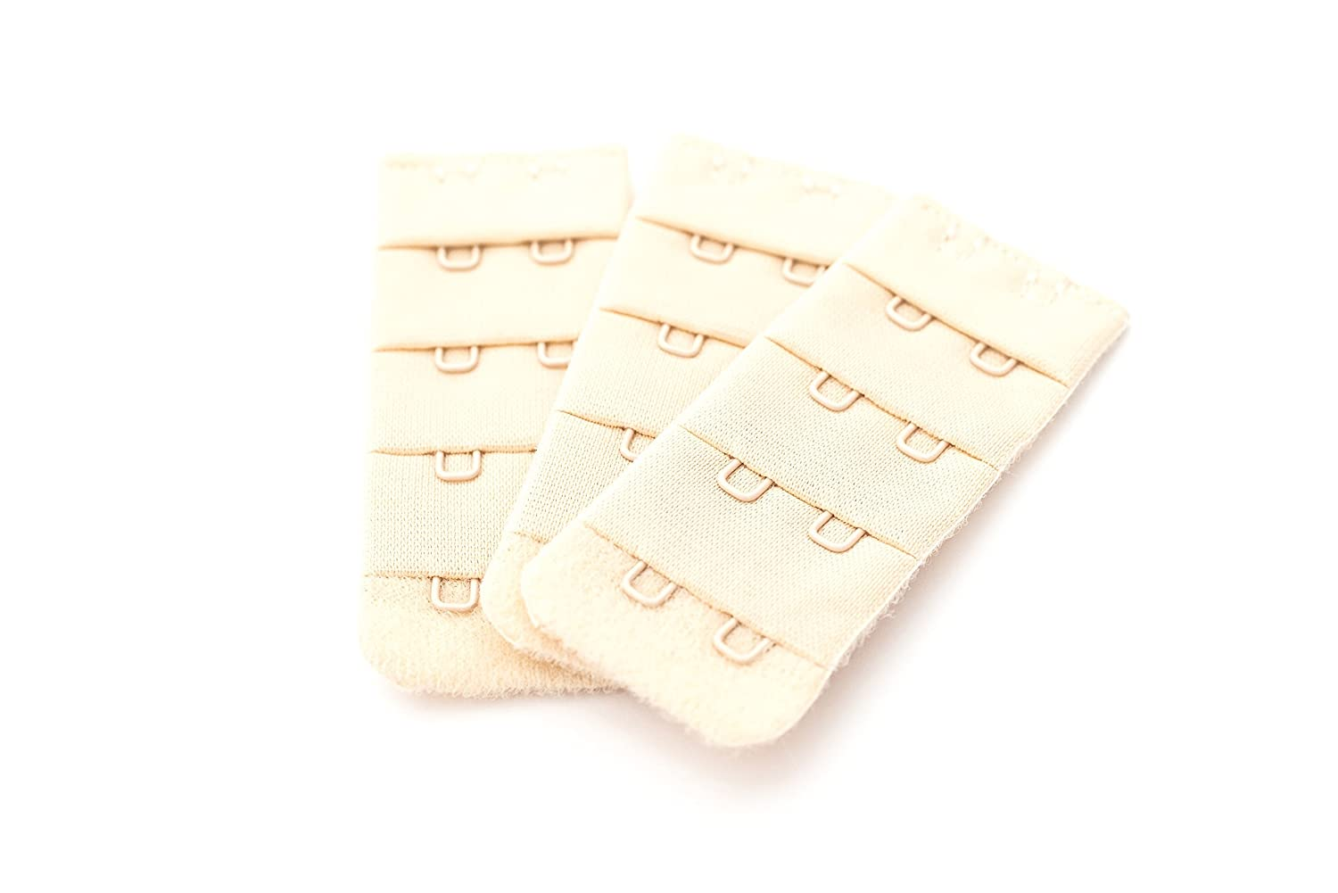 3 Piece pack of Bra Extenders Nude / Beige 2 hook narrow, 2 hook wide, 3 hook or 4 hook