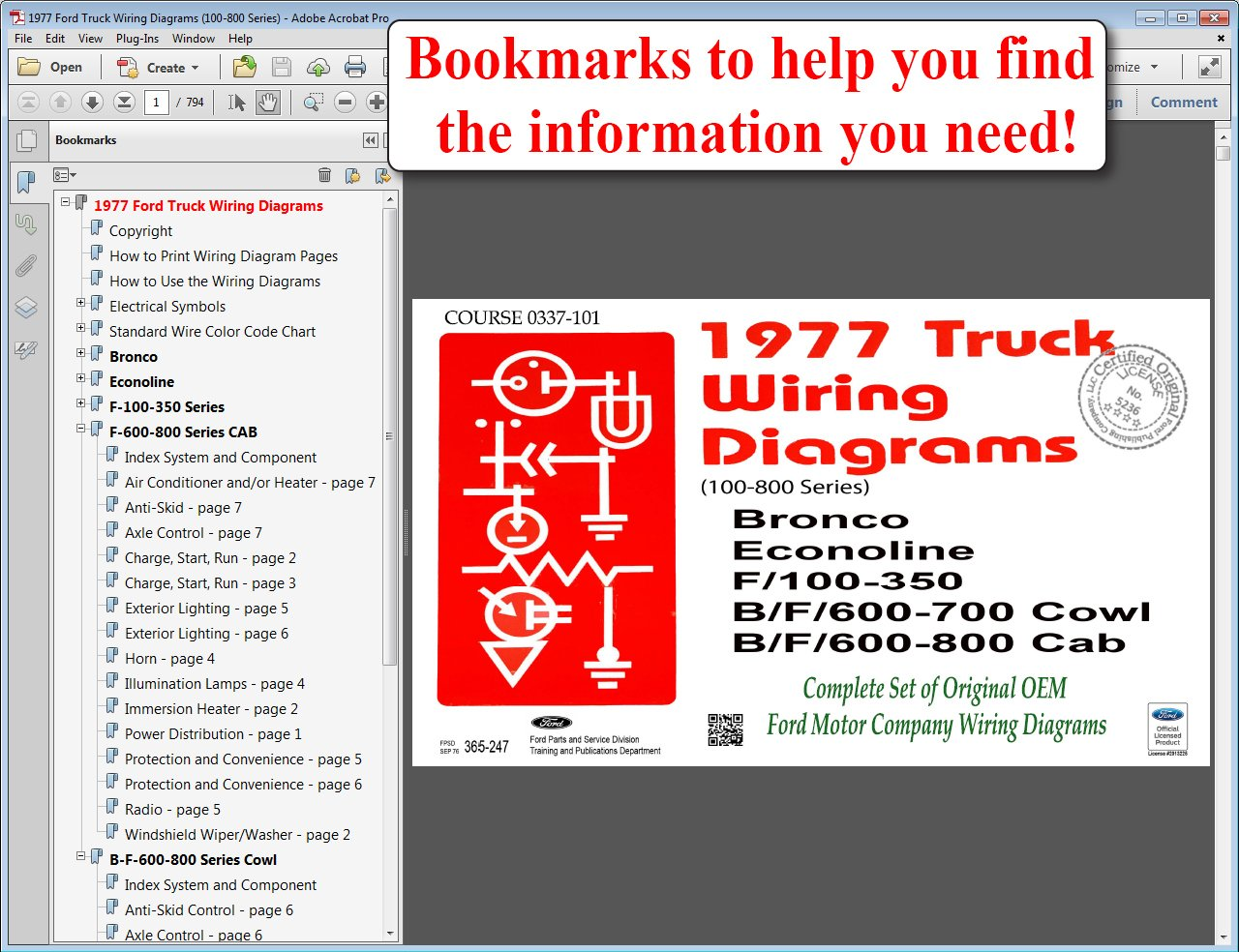 1977 Ford Truck Wiring Diagrams (100-800 Series) Bronco, Econoline, F100-350,  F600-700 Cowl, F600-800 Cab: Ford Motor Company: 9781603712057: Amazon.com:  ...