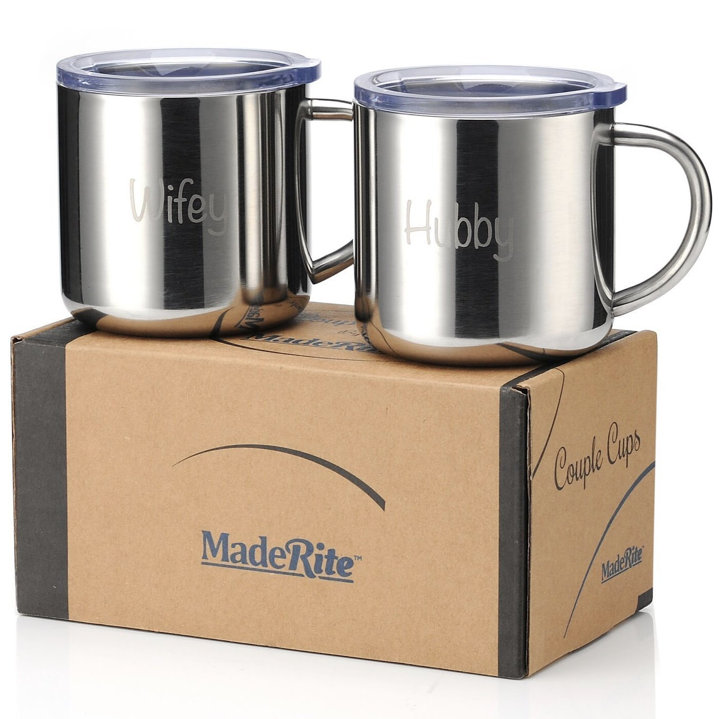 MadeRite Premium 304 Stainless Steel Couple Cups Coffee Mug Set 14 ounce (Wifey/Hubby)