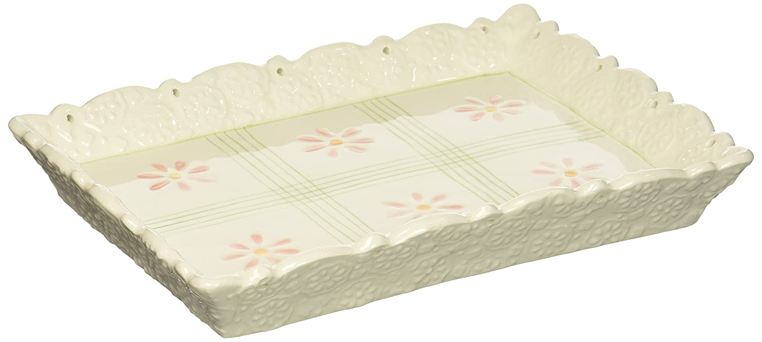 ATD 50104 7.125 Green Striped Floral Design Serving Tray
