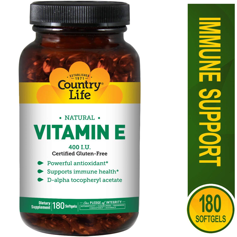Country Life Natural Vitamin E - Supports Immune Health - 400 IU, 180 Softgels