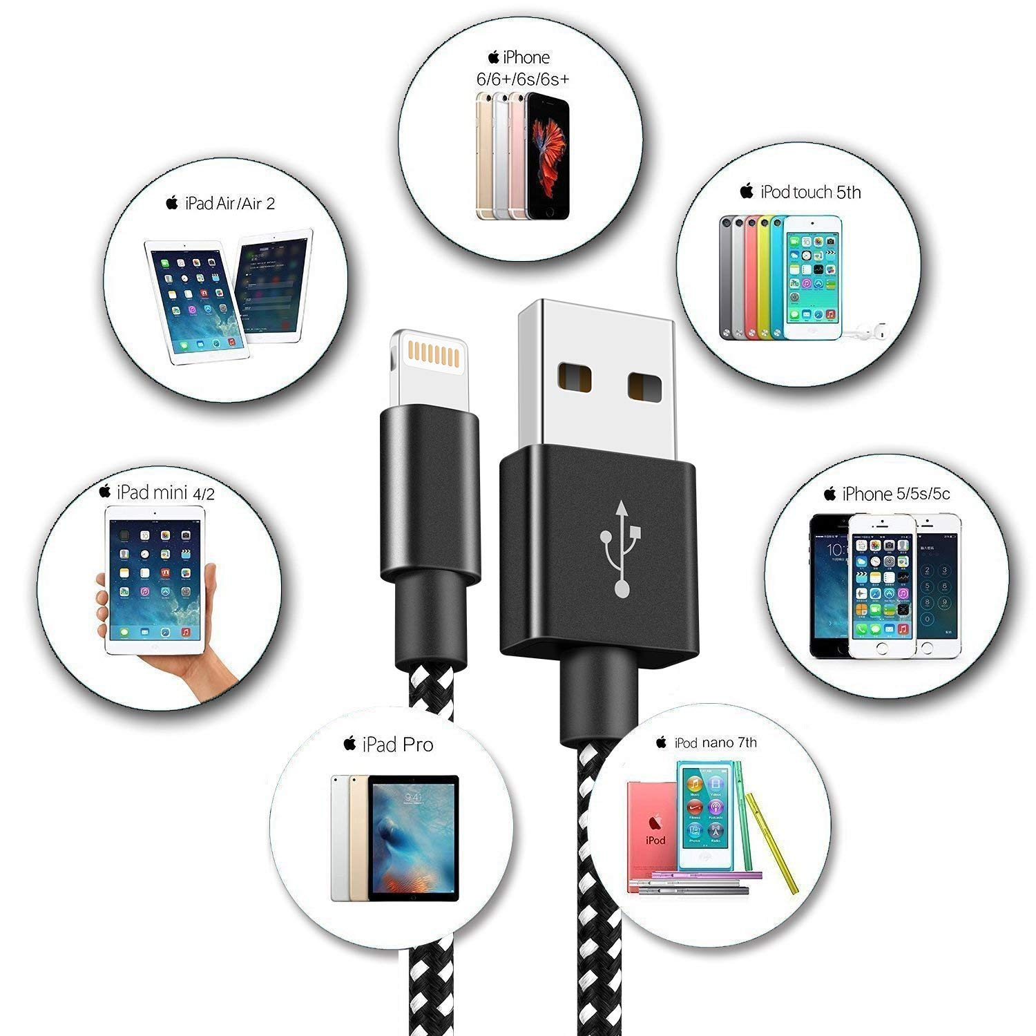 Jsvsh Phone Cable Nylon Braided USB Charging /& Syncing Cord Compatible with Phone XS MAX XR X 8 8 Plus 7 7 Plus and More
