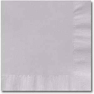 Silver Grey Beverage Napkins / 100 Count 3 Ply 4 3/4