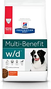 Hill's Prescription Diet Dry Dog Food, Veterinary Diet, w/d Multi-Benefit Digestive/Weight/Glucose/Urinary Management, Chicken