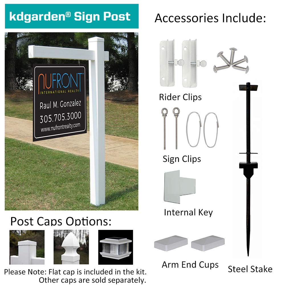 kdgarden Vinyl PVC Real Estate Sign Post 6ft. Tall (4''x 4''x 72'') Realtor Yard Sign Post for Open House and Home for Sale, 36'' Arm Holds Up to 24'' Sign, White with Flat Cap(No Sign) by kdgarden (Image #8)