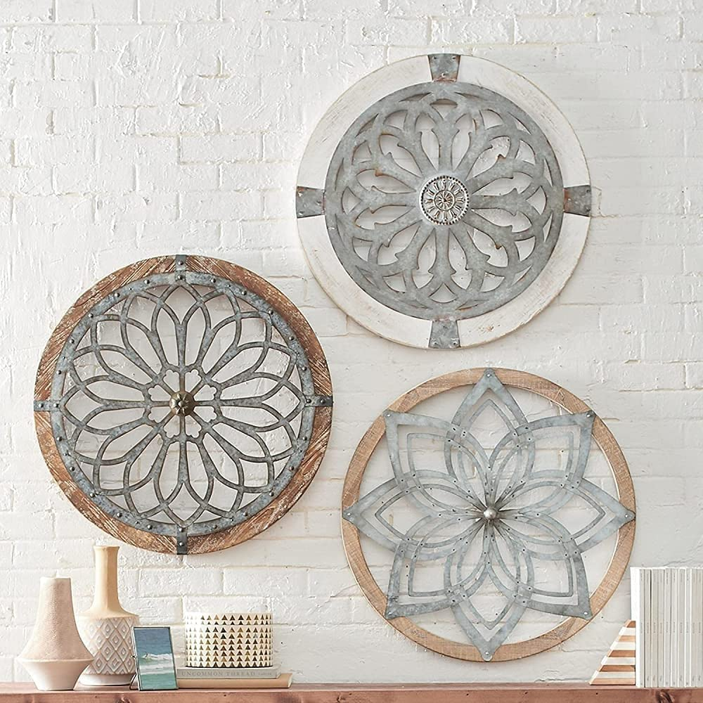 BUBULAND Retro Heritage Round Wall Art Wooden Hanging Ornament, Lightweight Metal Decorative Wall Medallions, Handmade Creative Wall Art/Decor/Gift/Craft for Hotel/Farmhouse/Cafe Shop/Home