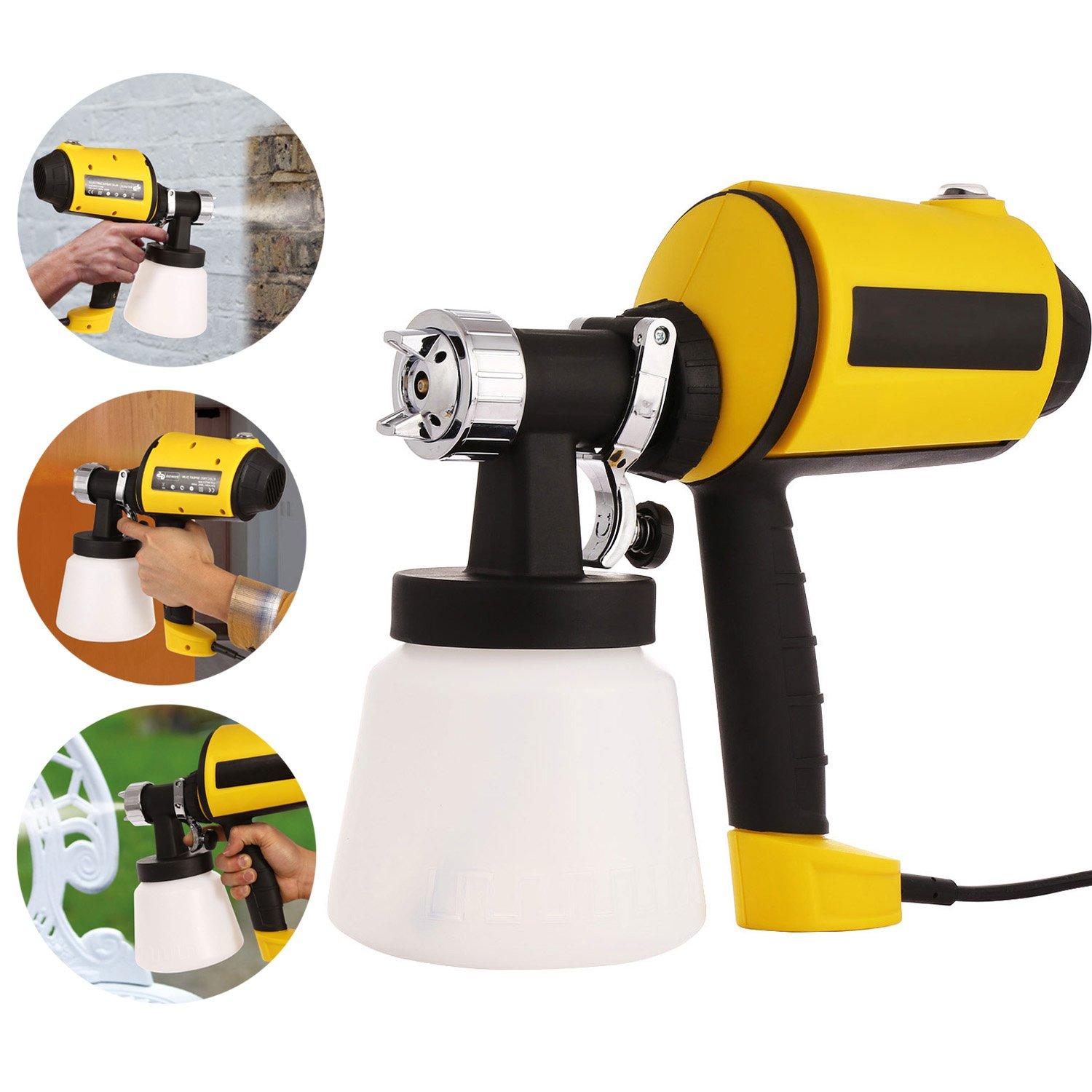 Anfan Advanced Electric Spray Gun 1100ml/min HVLP Paint Sprayer with Three Spray Patterns + Three Nozzle Sizes + Adjustable Valve Knob + 900ml Detachable Container + 6.5ft Power Line (Yellow)