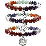 JOVIVI 7 Chakras Yoga Meditation Healing Balancing Round Stone Beads Stretch Bracelet with Tree of Life/Lotus/OM Symbol Charm