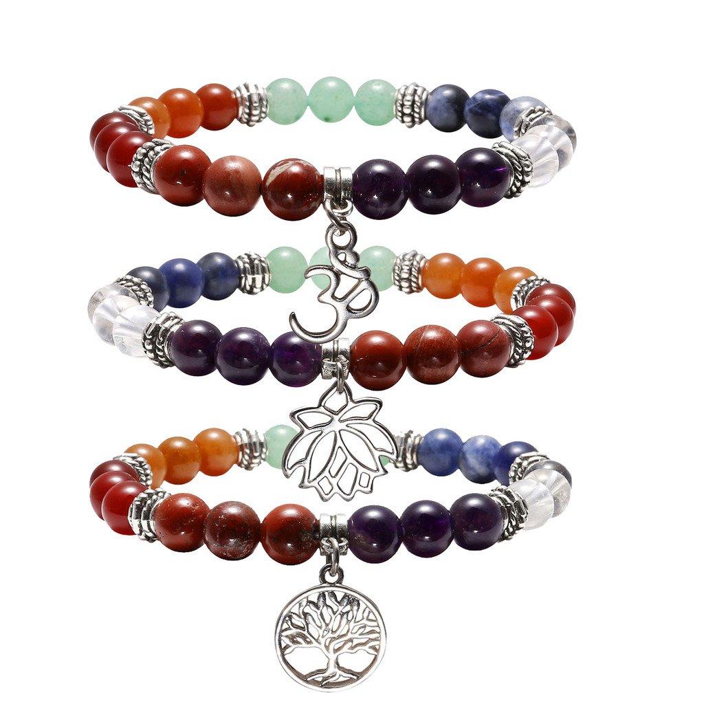 Jovivi 3pc 7 Chakras Yoga Meditation Healing Balancing Round Stone Beads Stretch Bracelet with Tree of Life Lotus Charm by Jovivi