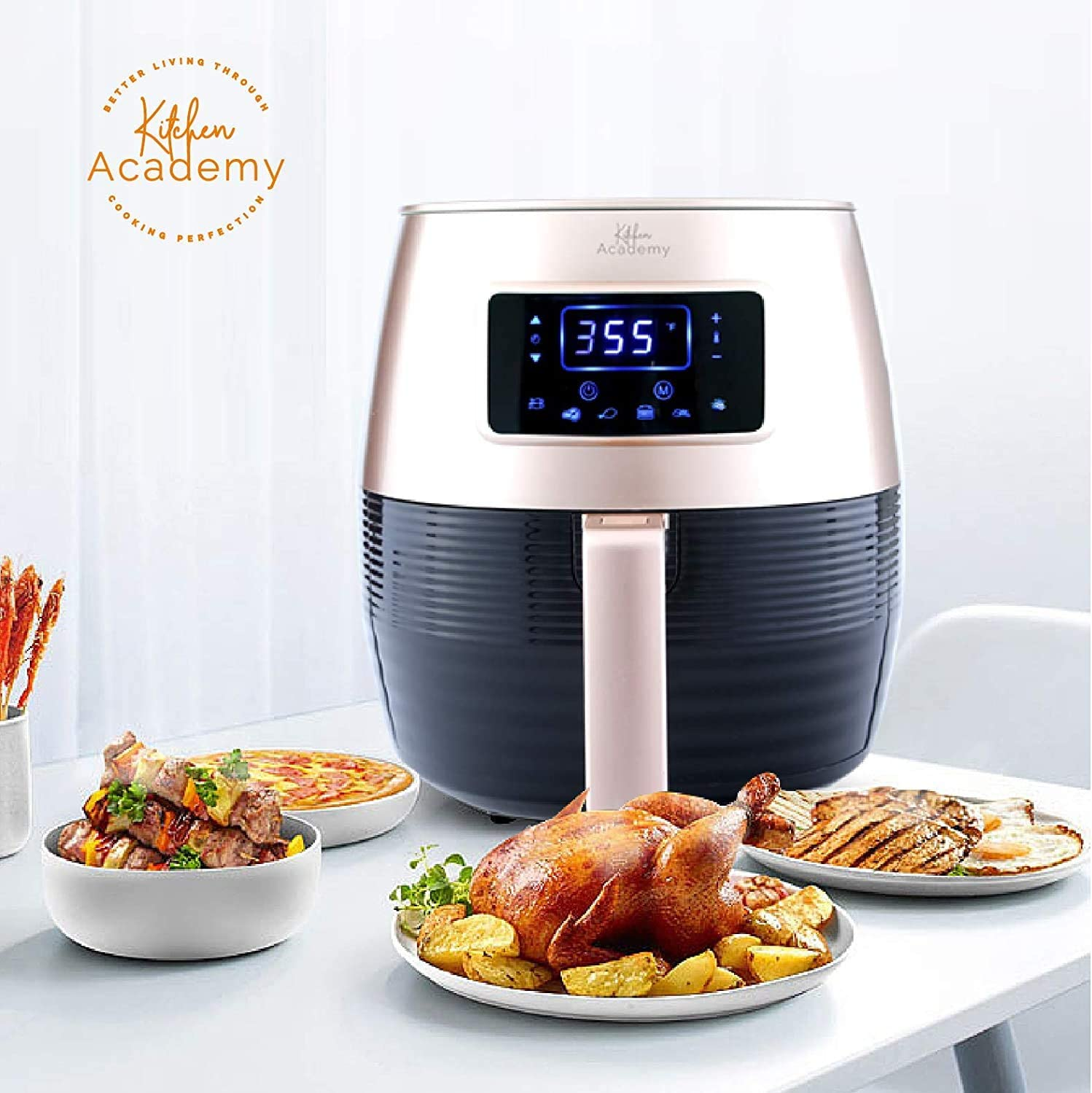 Kitchen Academy Air Fryer (50 Recipes), 5.5 Qt Electric Hot Air Fryers XL Oven Oilless Cooker, 7 Cooking Preset, LED Digital Touchscreen,Nonstick Basket,ETL/FDA Listed,1400W, Gold
