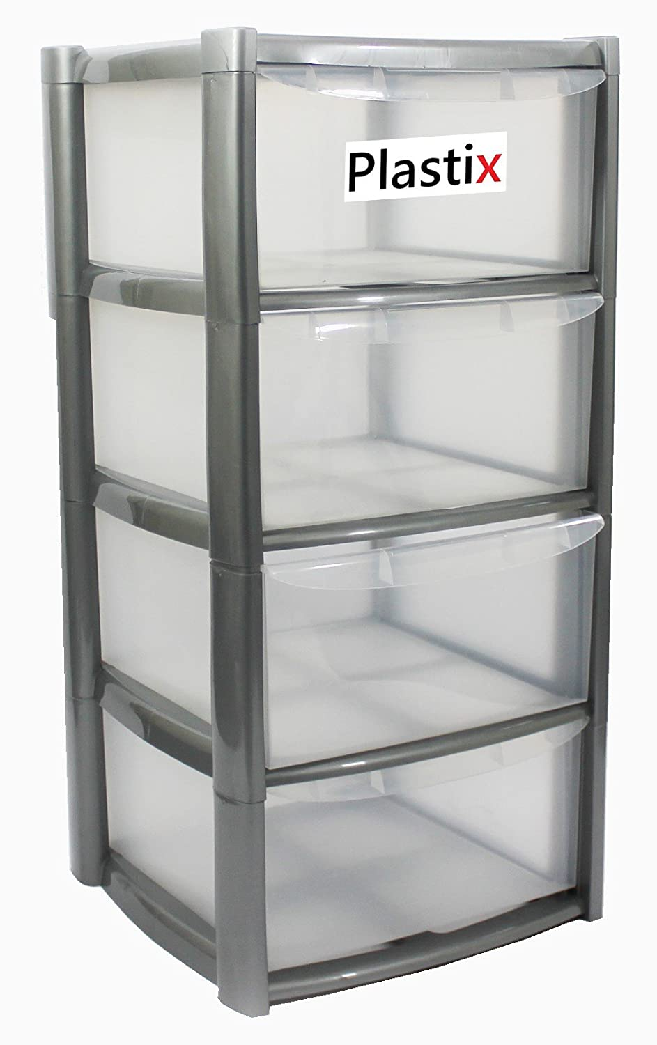 Black Large 3 Tier Drawer Plastic Draw Storage Trolley Tower Unit Home Office