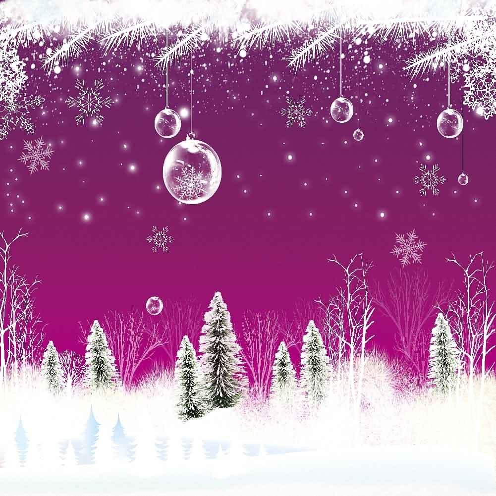 GladsBuy 雪の木 10フィート x 10フィート デジタルプリント 写真背景 クリスマス テーマ 背景 YHA-487   B016BX4VB8
