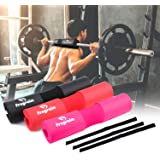 【2019 Upgrad】 Barbell Pad Squat Pad for Squats, Lunges and Hip Thrusts - Foam Sponge Pad with Safety Straps Protector for Neck & Shoulders - Fits Standard Olympic Weightlifting and Smith Machine Bar