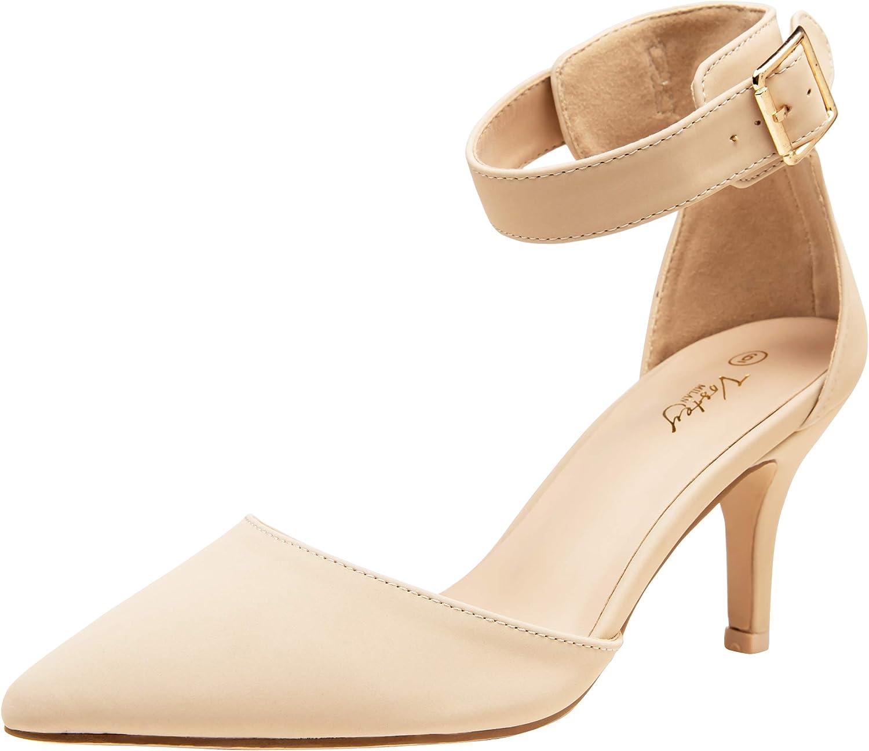 VOSTEY Women Heels Pointed Toe Low Heel