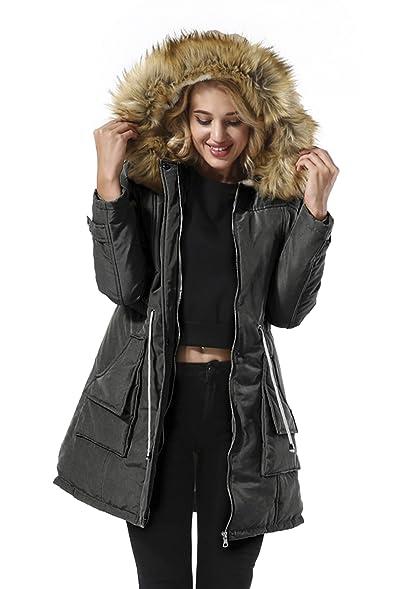 Amazon.com: Yidarton Women Parkas Jacket Faux Fur Lined Warm ...