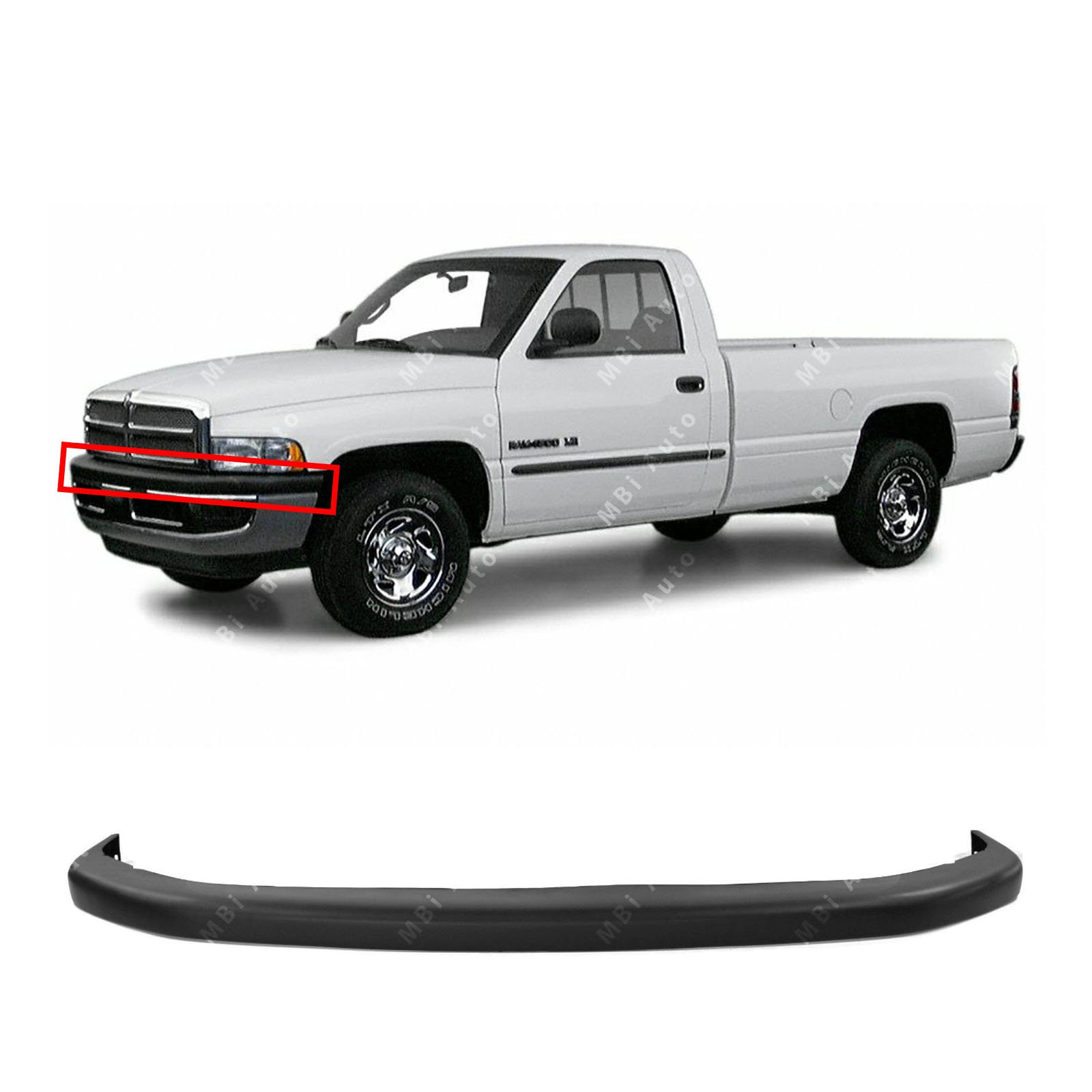 MBI AUTO - Textured, Black Front Upper Bumper Pad for 1994-2002 Dodge RAM 1500 2500 3500 94-02, CH1000160