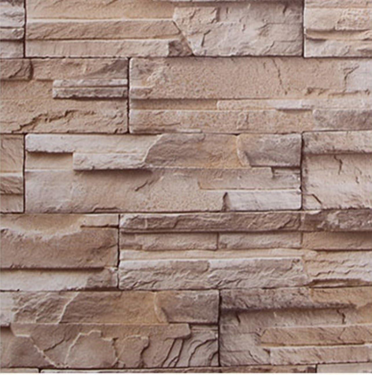 Amazon Yullymerry 壁紙シール レンガ ブロック 模様 61cm 10m ブリックパターン ストーン Diy 模様替え 浅黄 壁紙