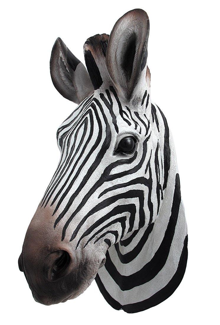 `Botswana` Zebra Head Wall Mount Statue Bust