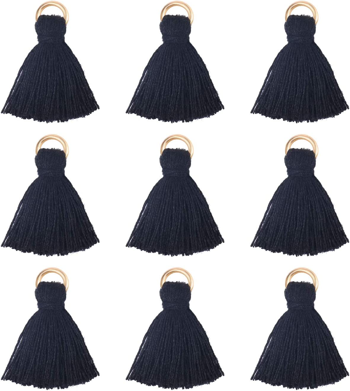 Wholesale 100pcs Mini Tassels Charms Short Cotton Gold Tassel Supplies for Crafts and Jewelry Making Aqua Blue