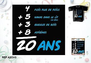 Tee Shirt Humoristique Homme Anniversaire 20 Ans Amazon Fr