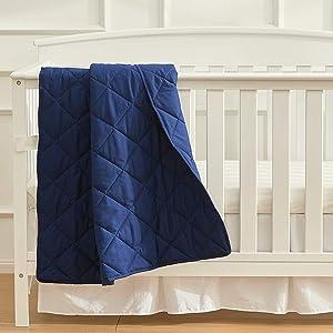EXQ Home Toddler Comforter Baby Quit Blanket Soft Lightweight,39×47 Inches Polyester Toddler Nursing Blanket for Infant and Newborn, Ultra Soft for Crib Bed,Stroller,Travel(Navy Blue)