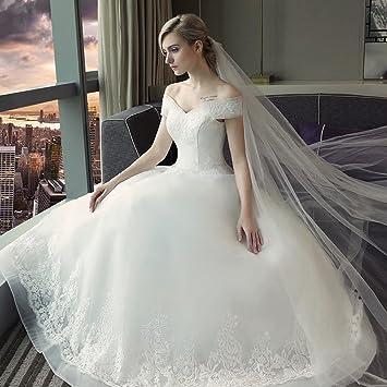 SHA Vestido de Novia Vestido de Novia Vestido de Encaje Vestido de Novia Coreano,Blanco