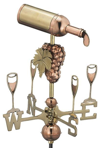 Good Directions Wine Bottle Garden Weathervane With Garden Pole, Pure Copper