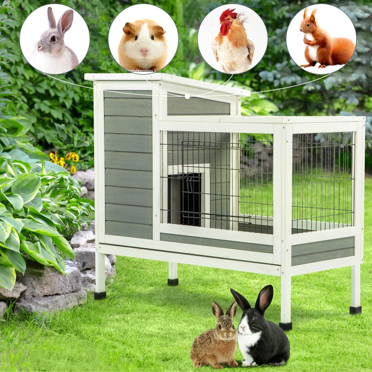 U-MAX Rabbit Hutch Pet House for Small Animals Guinea Pig House Rabbit Cage with Run Bunny House Indoor /& Outdoor