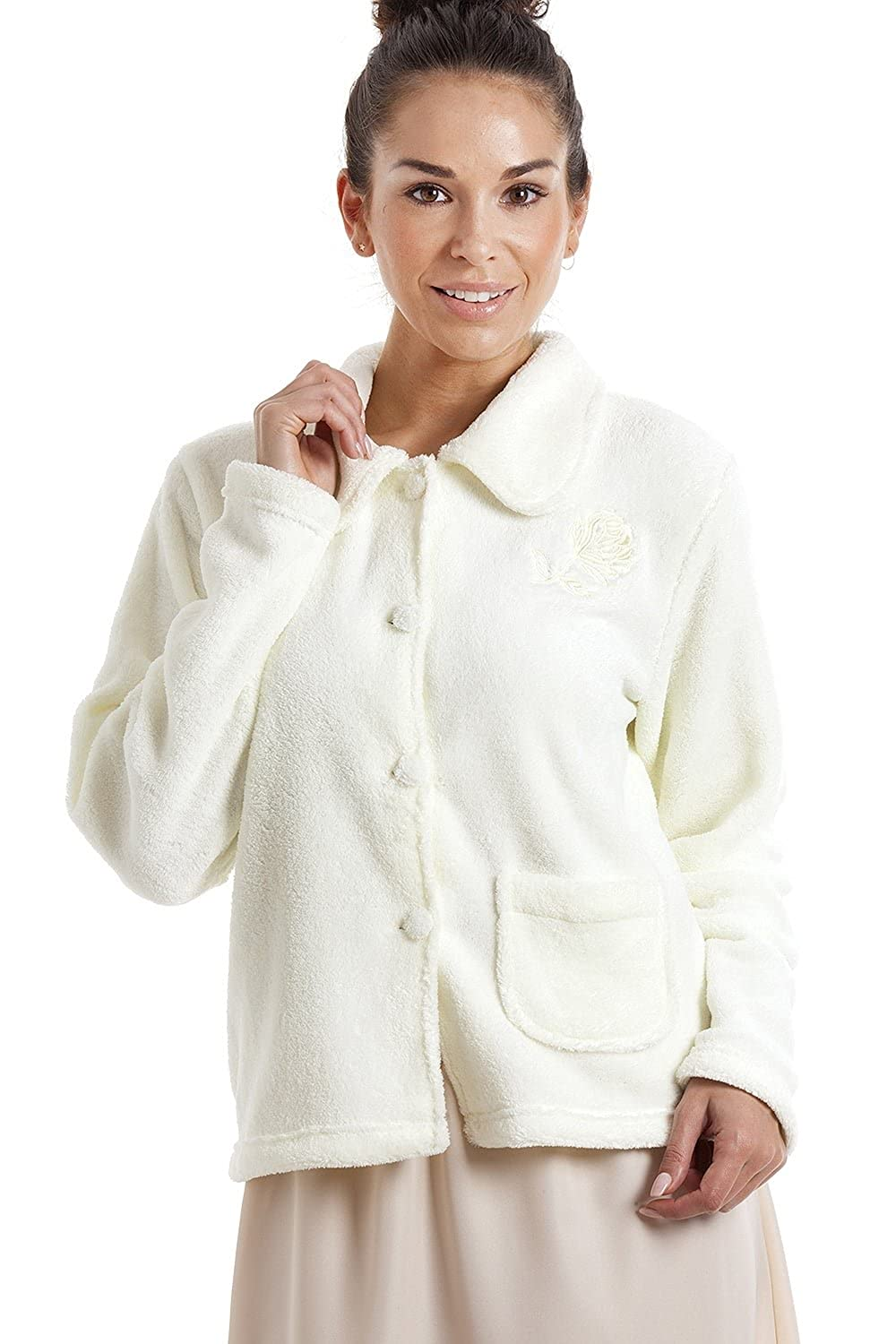Camille Womens Ladies Ivory Soft Warm Fleece Bed Jacket