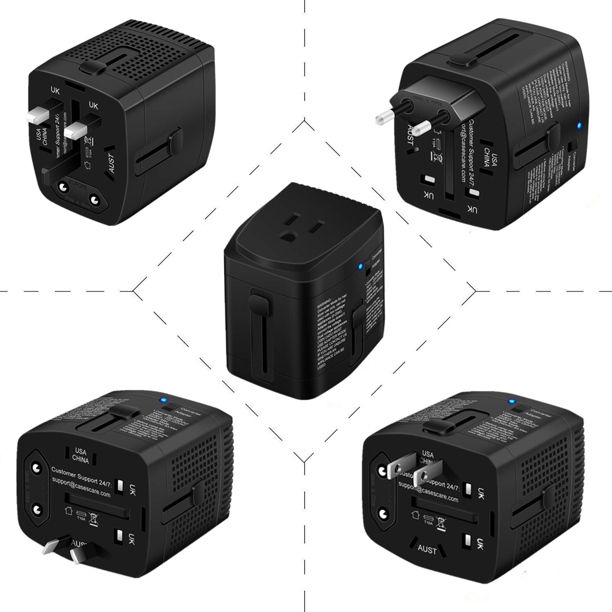 2000W Step Down Voltage Converter 220V to 110V and Universal Travel Plug Adapter Combo for Hair Dryer Steam Iron Cell Phone Laptop MacBook - Plug Adaptor US to Europe, UK, AU, Asia Over 150 Countries by ElecLead (Image #6)