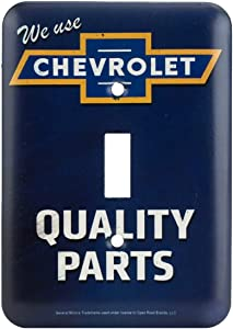 Open Road Brands Chevrolet Blue Quality Parts Embossed Tin Metal Wall Art Light Switch - an Officially Licensed Product Great Addition to Add What You Love to Your Home/Garage Decor