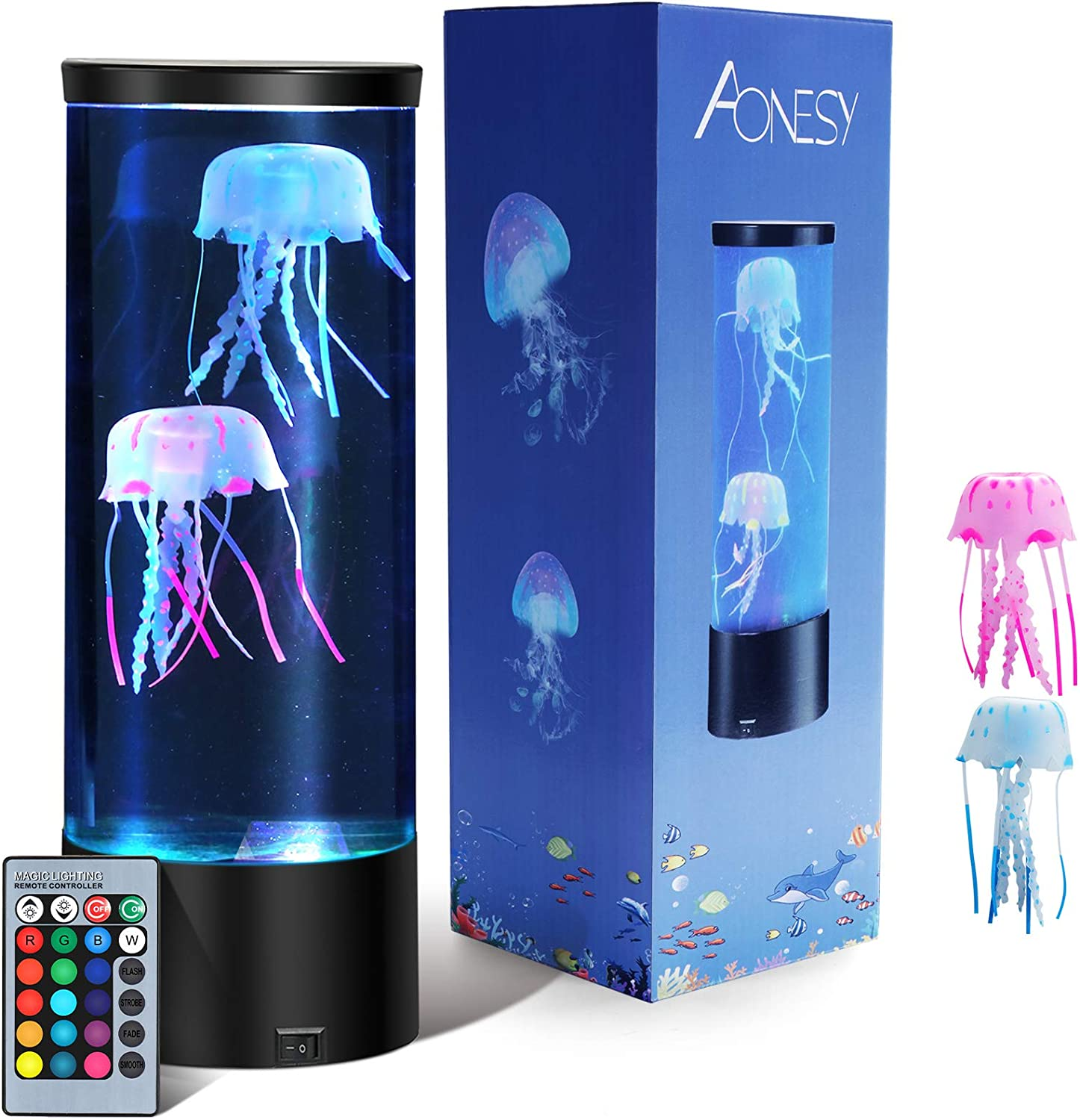Jellyfish Lamp with Remote Control RGB 16 Color Changing Lights- LED Jellyfish Aquarium Lava Lamp Night Light for Kids Dad Mom-Home Office Room Desk Decor Lamp for Christmas Birthday Gifts (Black)