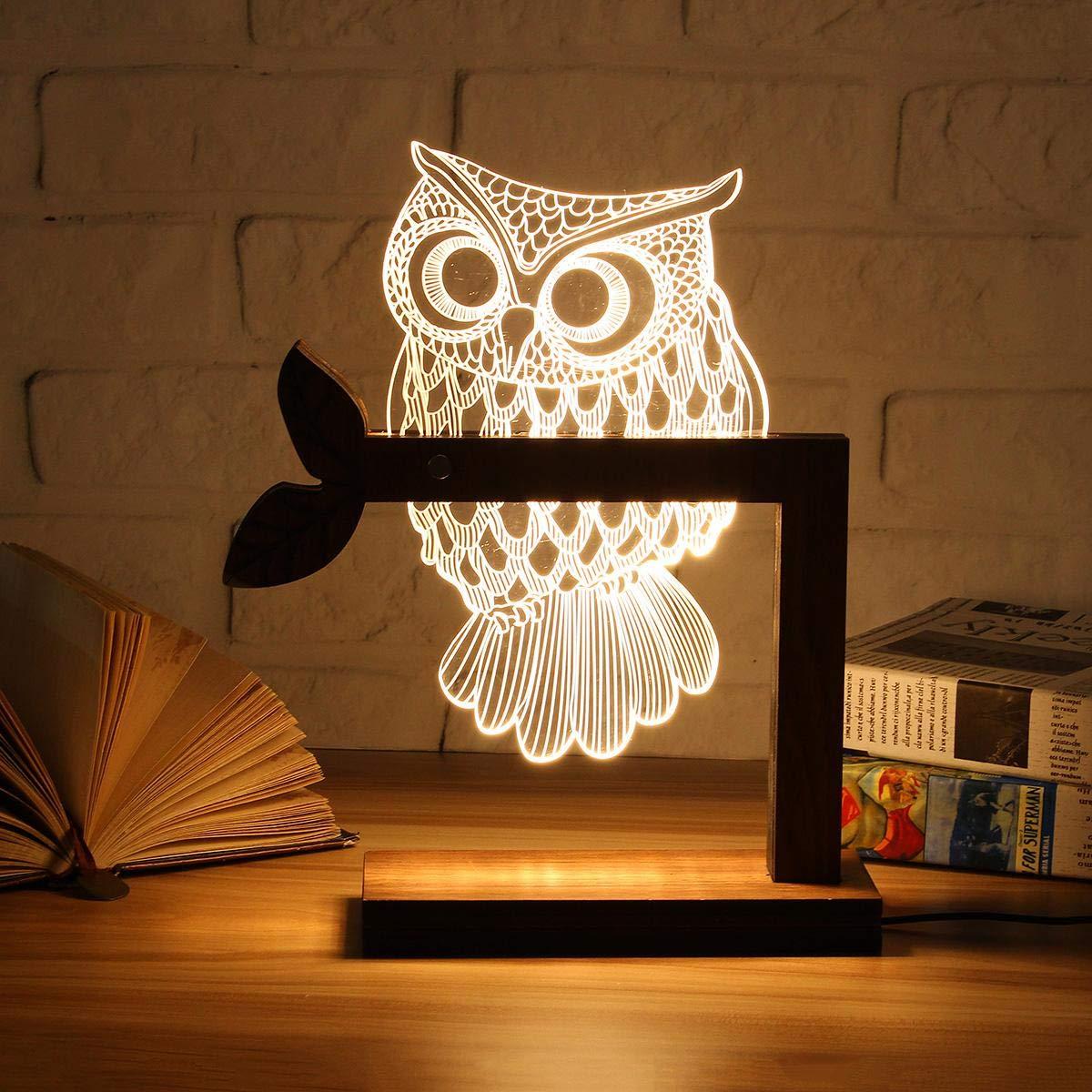 Wooden USB 3D LED Animal Butterfly OWL Night Light Warm Lighting Table Reading Lamps Bedroom Home Decor Birthday Gift,E