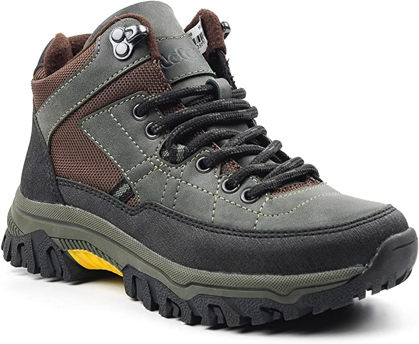 Letoon Boys Hiking Boots Outdoor Leisure Everyday Mountain Boots Solid Stable Thermo Sole Breathable