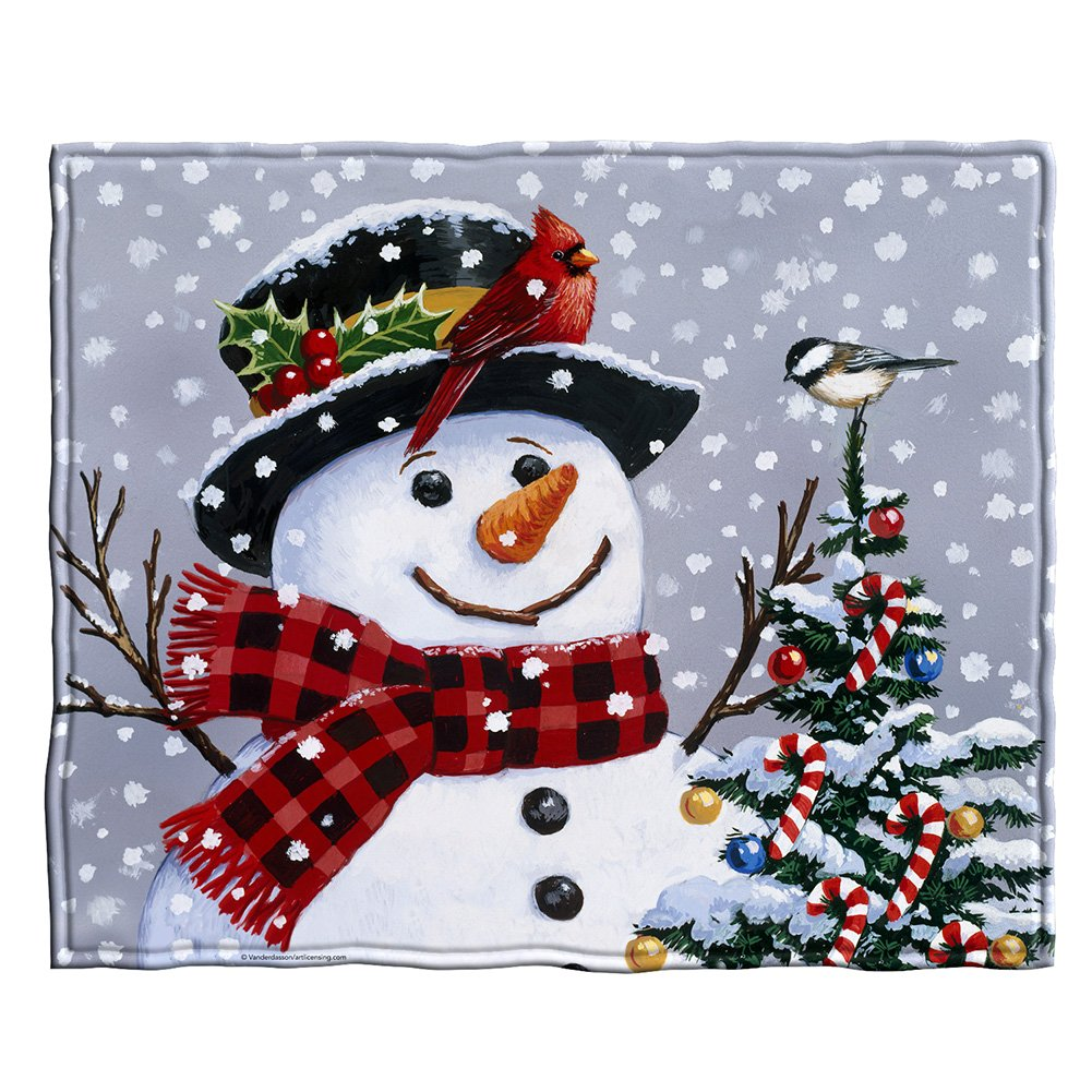 Snowman Fleece Throw Blanket