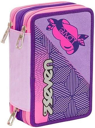 Estuche Escolar Rebel Girl 3 pisos completo cremallera + incluye lápiz purpurina + incluye marcapáginas: Amazon.es: Oficina y papelería