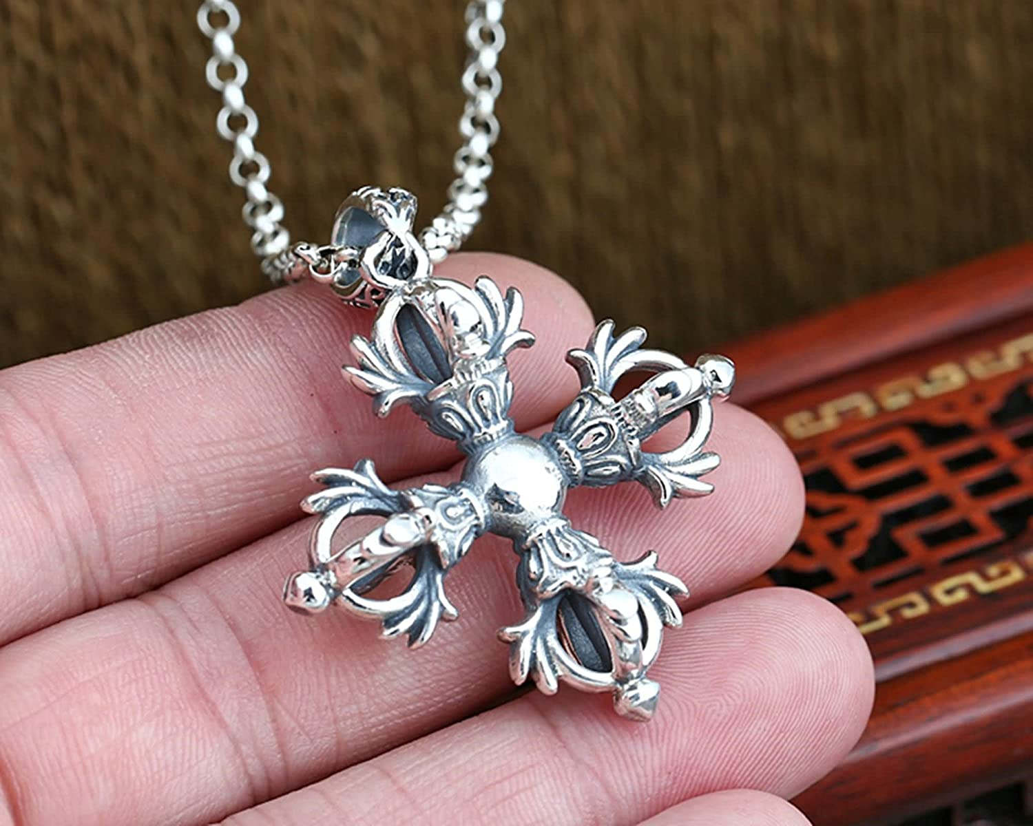Aooaz Jewelry Pendant Necklaces for Men Women Silver Material Necklace Vajra Cross Chain Necklace Silver