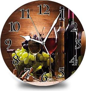 Red Wine Grape Wood Grain Background Rustic Home 12 Inch Silent Vintage Design Wooden Round Wall Clock Arabic Numerals Design Non Ticking Retro Clocks Home Decor Desk Clock