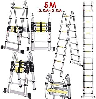 Teleskopleiter 3,2m Klappleiter Stehleiter Mehrzweckleiter aus hochwertigem Aluminium Ausziehbare Leiter Sicherheitsverriegelung Anti-Rutsch 150 kg Belastbarkeit
