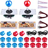Gamelec 2-Player Arcade Buttons and Joystick DIY Controller Kit for Windows and Raspberry Pi,x 5 Pin Joysticks,Red and Blue Each with 10 Buttons
