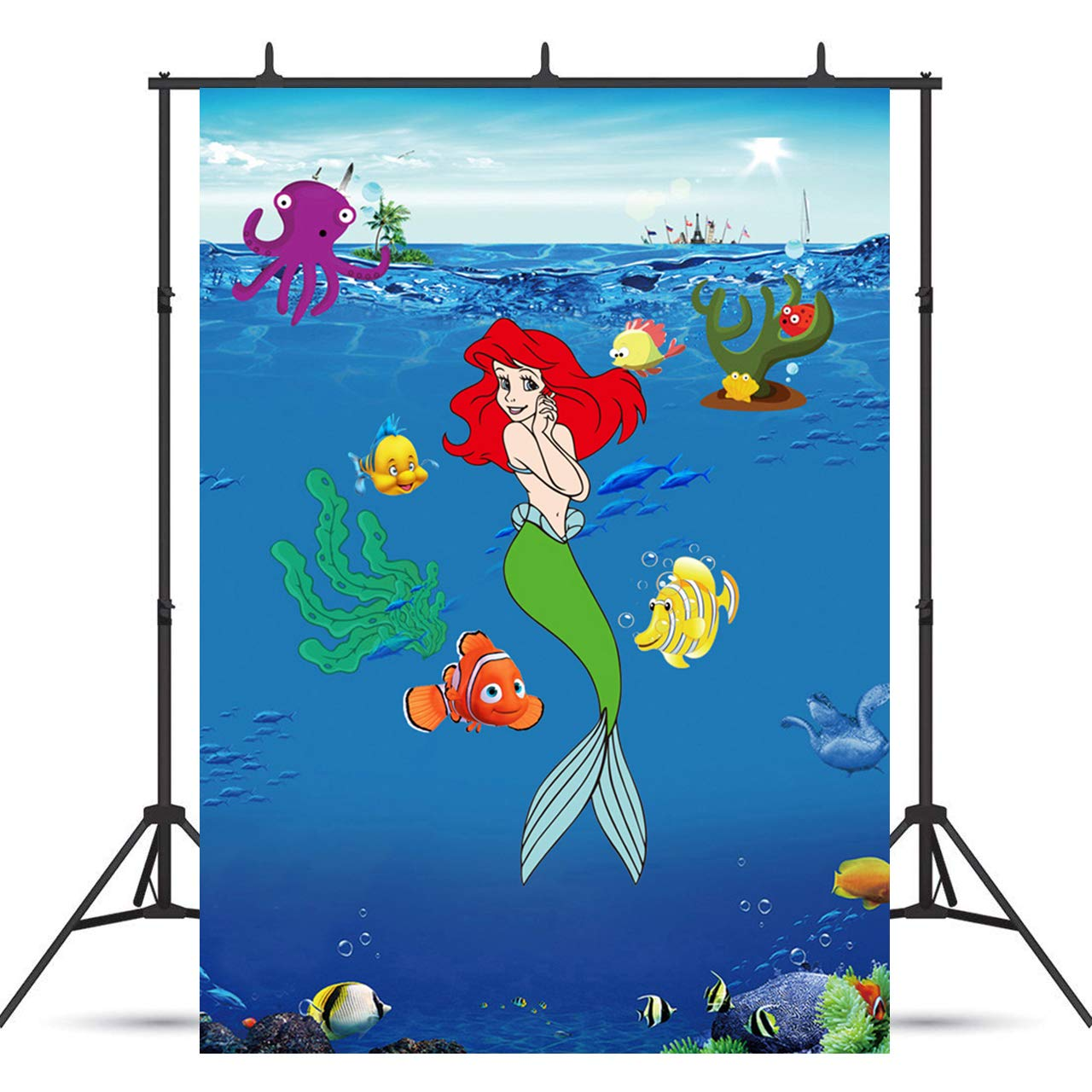 VVM 7x5ft Mermaid Backdrop Underwater World Photography Background for Baby Shower Pictures Childrens Theme Birthday Party Decoration Props LXVV836