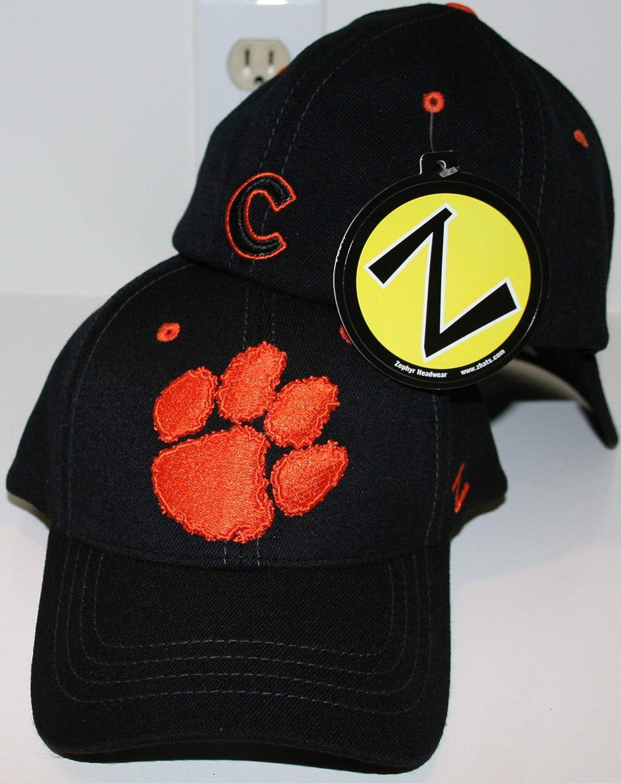 Zephyr Clemson Tigers Black Element Fitted Hat Size Medium//Large