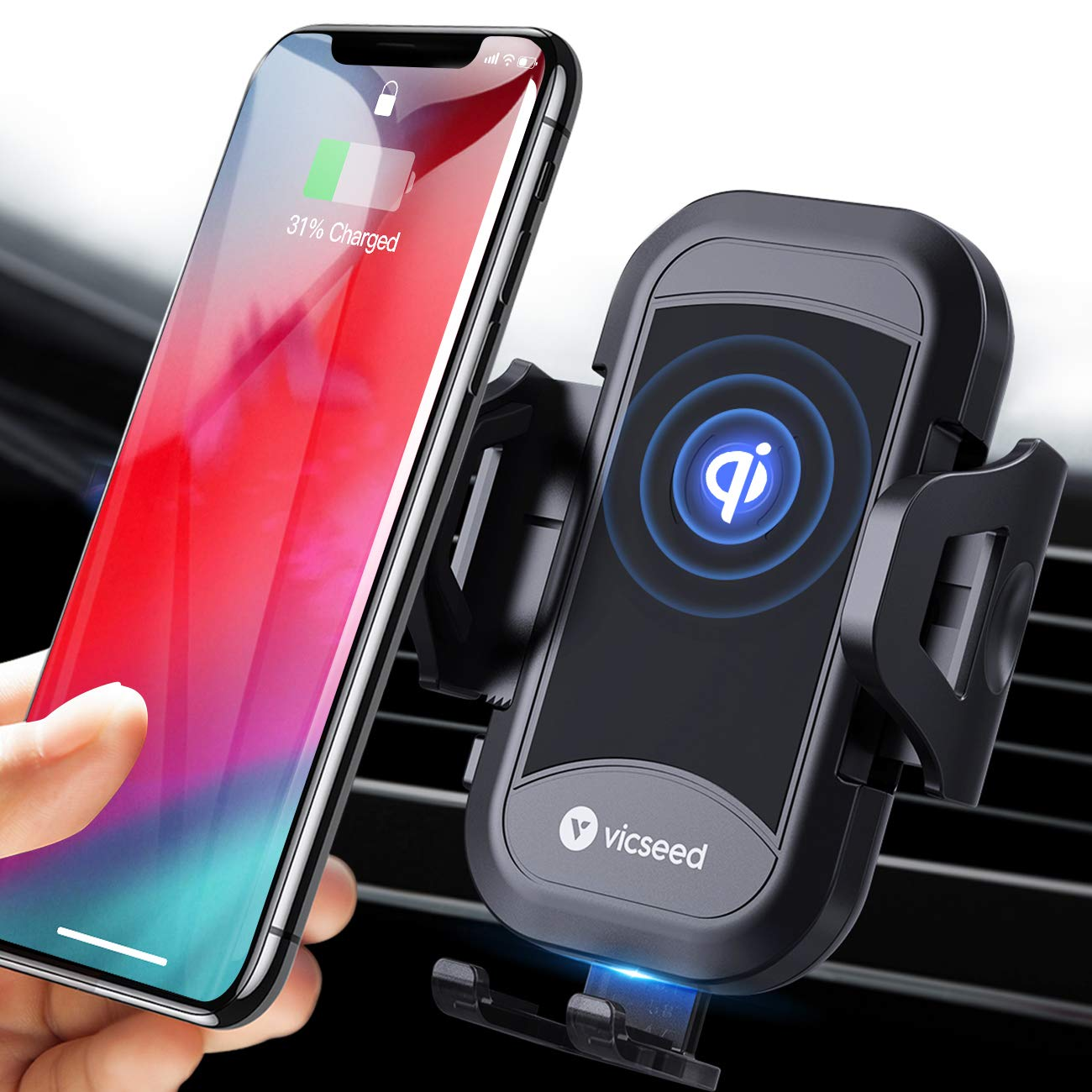 VICSEED Wireless Car Charger Mount Fast Charging Qi Wireless Car Charger 7.5W 10W Qi Car Charger Air Vent Phone Holder for Car Mount Fit for iPhone Xs Max X 8 Plus XR Samsung Note 10 S10 S9 S8 Note 9