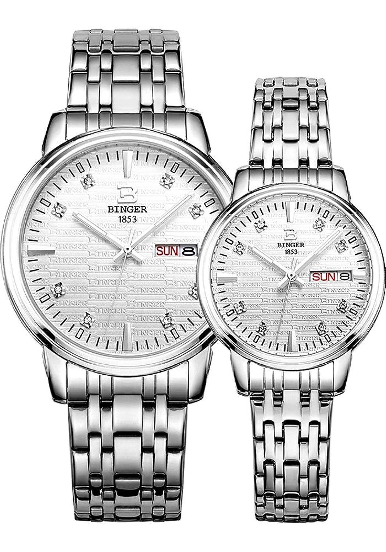 Binger Paar Quarz Uhr mit Silber strukturierte Zifferblatt und Edelstahl-Armband fÜr Frauen der MÄnner (Silber)
